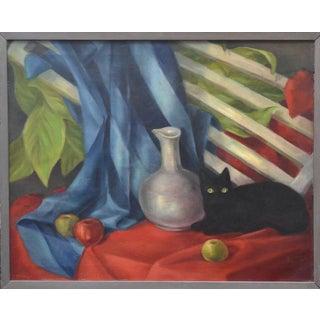 Black Cat & Vase Still Life Painting