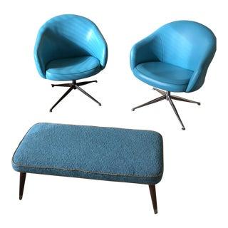 Viko Baumritter Swivel Chairs and Ottoman - Set of 3