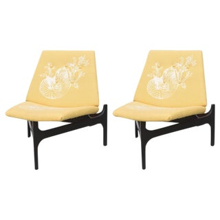 Pair of Kagan Style Walnut Chairs by John Keal for Brown and Saltman