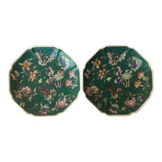 Vintage Chinese Enamel Painted Plates - A Pair