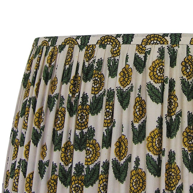 Floral Gathered Lamp Shade Indian Block Print Fabric Large - Image 4 of 5