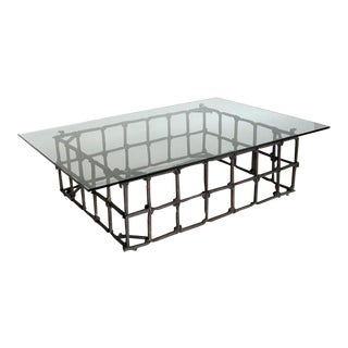 Custom Rail Road Spike Coffee Table with Glass Top