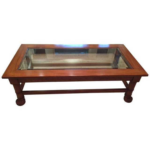 Traditional wood glass coffee table chairish for Epl table 98 99