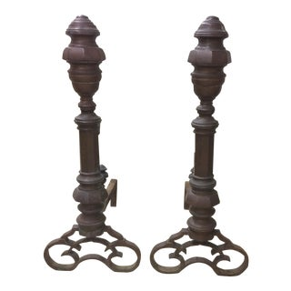 Antique 1880s Copper Andirons - A Pair