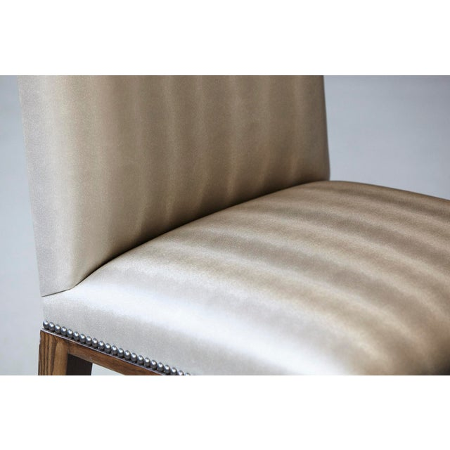 Image of Set of Four Custom Made Dining Chairs in Silver Faux Leather