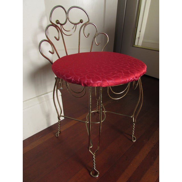 Vintage Red & Brass Vanity Stool | Chairish