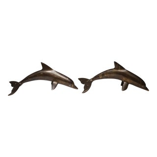 Vintage Solid Bronze Dolphins - A Pair
