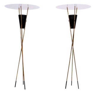 Mid-Century Modern Pair of Tripod Torchieres