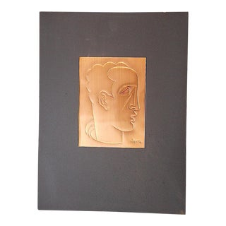 Original Mid Century Etching On Metal-Signed-Portrait