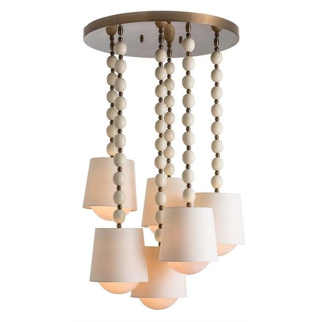 6-Light Shaded Pendant Chandelier - Image 1 of 2