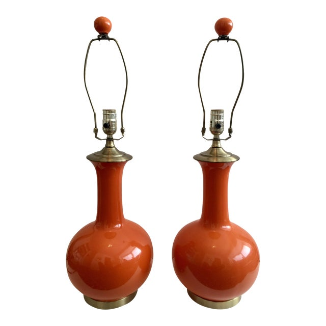 Mid-Century Ceramic Orange Lamps - A Pair - Image 1 of 4