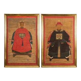 Antique Pair Chinese Ancestor Portraits
