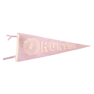 Vintage CUNY Hunter College Felt Flag