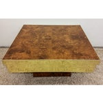 Image of Pierre Cardin Brass and Burl Coffee Table