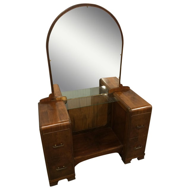 1930's Waterfall Vanity With Mirror & Stool - Image 1 of 9