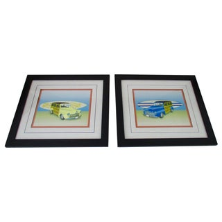 Vintage Car & Surfboard Framed Pictures - A Pair
