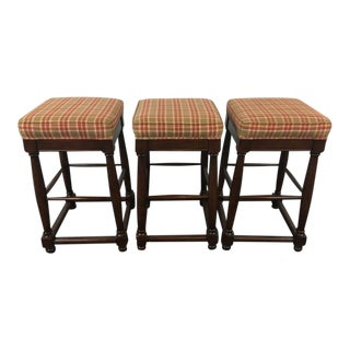 Fremarc Designs Plaid Upholstered Wood Bar Stools - Set of 3