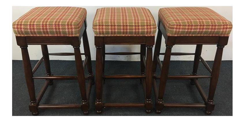 fremarc designs plaid upholstered wood bar stools set of 3