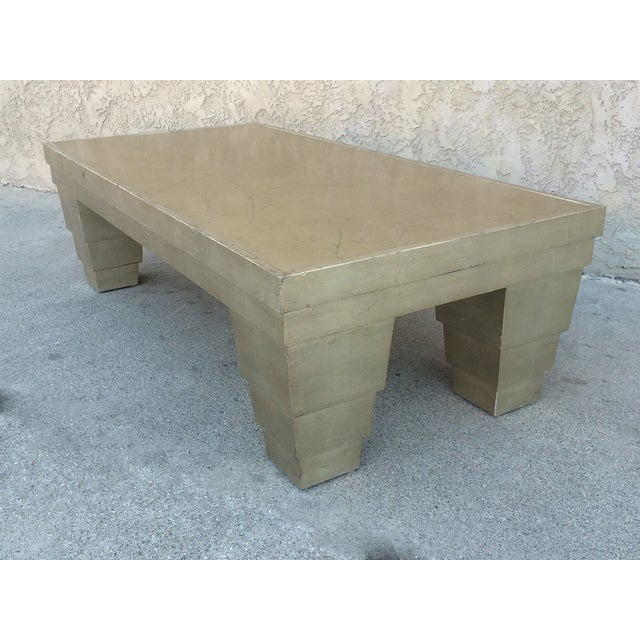Silver Finish Coffee Table: Silver Leaf Finish Memphis Style Coffee Table