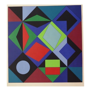 1970s Vasarely Sikra Silk Screen Print