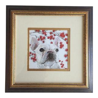 White Frenchie Crabapple Dog Print by Judy Henn