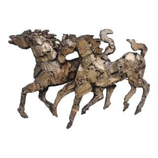 Brutalist Texture Fiberglass Horses Wall Sculpture.