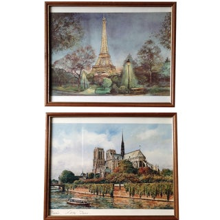 Vintage Paris Watercolor Prints - A Pair