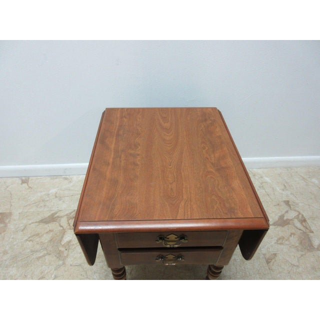 Ethan Allen Heirloom Formica Top Drop Leaf Nutmeg End Table - Image 11 of 11