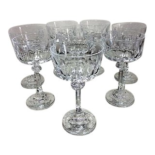 Vintage Crystal Champagne Coupe Glasses - Set of 8