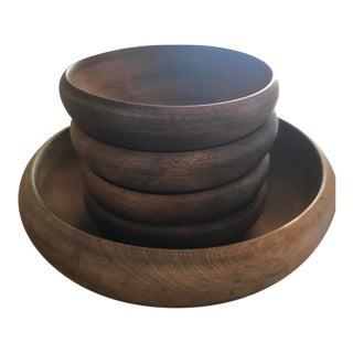 Vintage Wooden Serving & Salad Bowls - set of 5