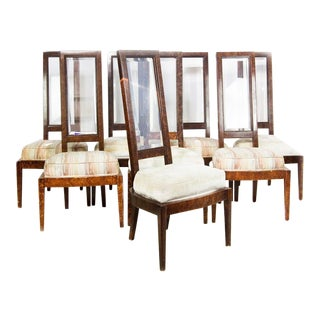 Lucite and Birdseye Maple Veneer Mid-Century Modern Dining Chairs - Set of 8