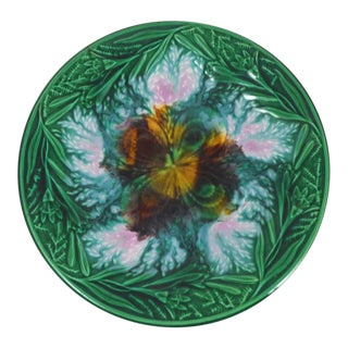 19th English Majolica Clover and Lilies Plate