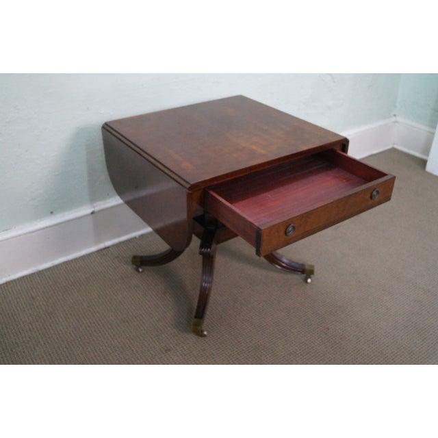 Custom English Regency Style Drop Leaf Side Table - Image 2 of 10
