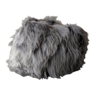 Moon Gray Sheepskin Bean Bag Chair