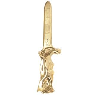 Polished Bronze One-of-a-Kind Sculptural Letter Opener or Desk Accessory
