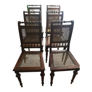 French Antique Cane Dining Chairs - Set of 6