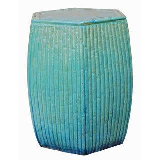 Hexagon Turquoise Blue Ceramic Garden Stool