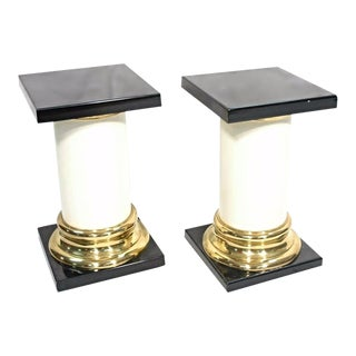Mastercraft Mid-Century Modern Lacquer Brass Pedestal Tables - A Pair