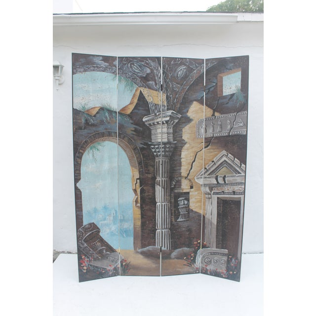 Painted 4-Panel Screen - Image 11 of 11