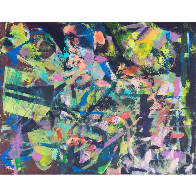 Contemporary Lilac & Chestnut Abstract - Image 1 of 6