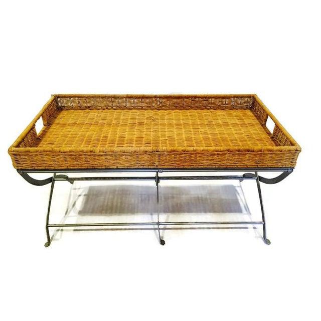 Image of Boho Rattan & Metal X-Base Tray Coffee Table