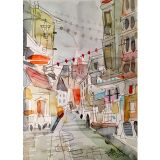 """""""Festive Walk About"""" Watercolor Painting"""