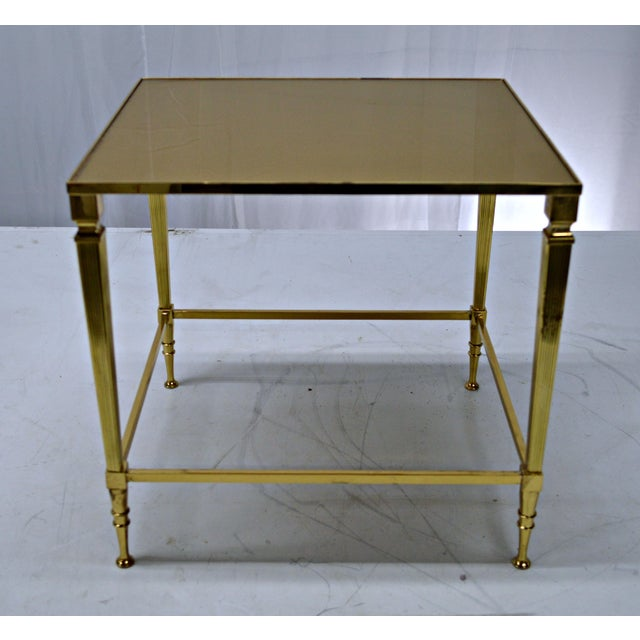 Neoclassical Brass & Glass Auxiliary Side Table - Image 7 of 10