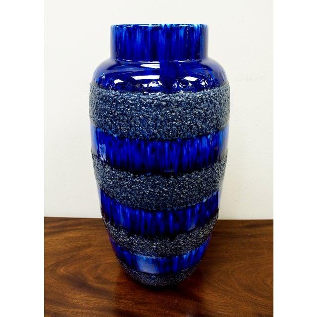 Scheurich Keramik Vintage Blue Fat Lava Floor Vase - Image 2 of 6