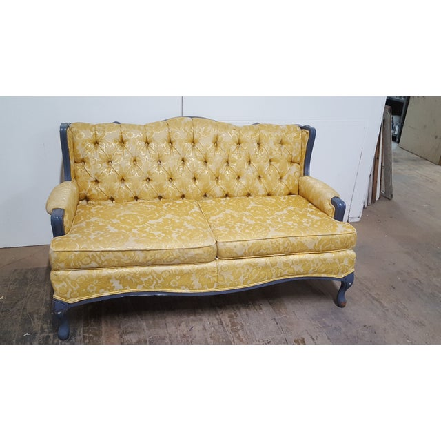 Vintage French Provincial Yellow Brocade Loveseat - Image 4 of 6
