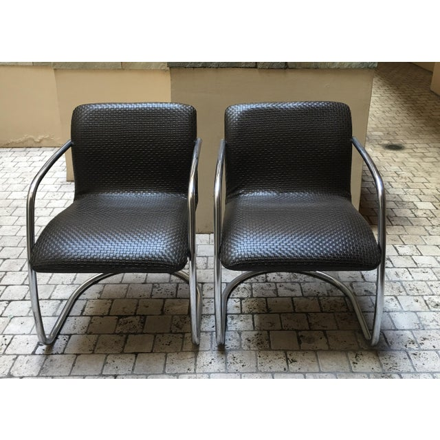 Mid Century Chrome Basket Weave Chair - Pair - Image 2 of 8