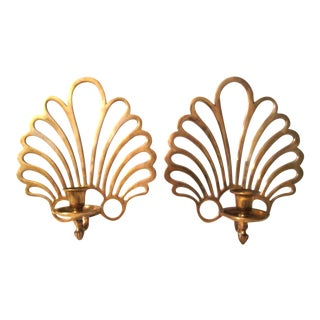 Brass Fan Hanging Candle Sconces - A Pair