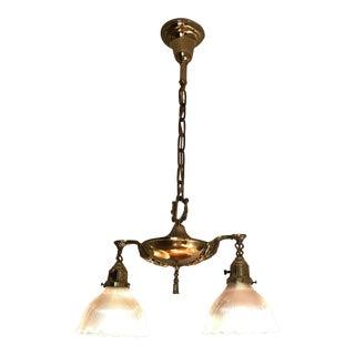 Brass 1930s Two-Light Chandelier