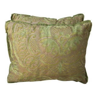 Green & Gold Fortuny Pillows - a Pair