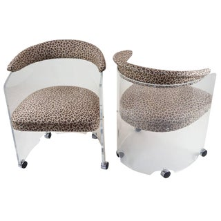 Leopard Print Seat Lucite Barrel Chairs - a Pair